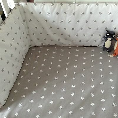 100% cotton Cot/Cot bed fitted sheet grey stars SALE!