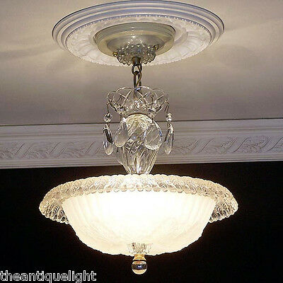 505 Vintage 40s Ceiling Light Lamp Fixture Glass Chandelier Re-Wired beige