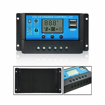 10/20/30A 12/24V LCD USB Solar Panel Battery Regulator Charge Controller PWM