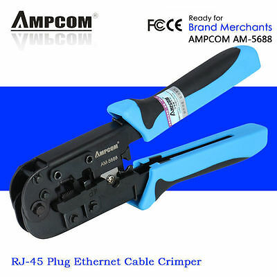 Ampcom RJ45 RJ11 Network Telephone Cable Plugs Crimp Tool Crimper Crimping Plier