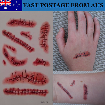 Realistic Scar Temporary Tattoos -- Halloween Wound Scab Blood Wound Tattoo