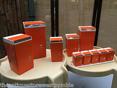 Collection of Retro Vintage 1960s Australian Orange Nally Ware Kitchen Canisters