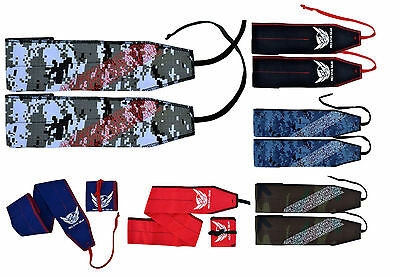 "AQF Wrist Wraps Weight Lifting Straps Gym Training Support 35"" Cotton Mulitcolor"