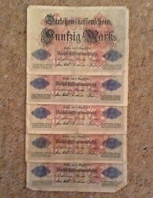 Lot Of 5 X German Banknotes. 50 Marks. Dated 1914.
