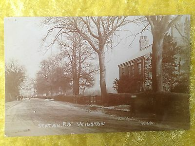 STATION ROAD, WIGSTON, Leicestershire, Real Photograph Postcard