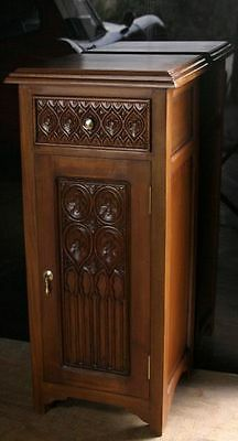 2 x Solid Mahogany Tudor Bedside Carved Chests New Matching Pair Gothic