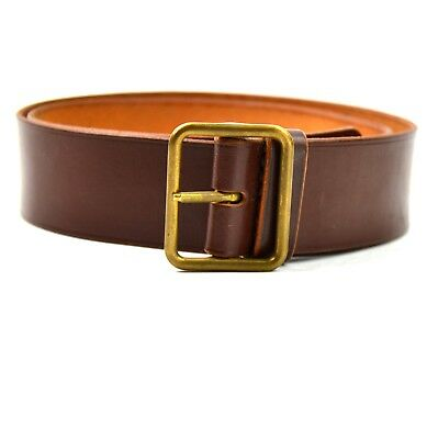 Genuine Swiss army military brown leather belt. Swiss 38 mm leather belt