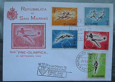San Marino FDC - 1963 Pre-Olimpica First Day Cover Athletics