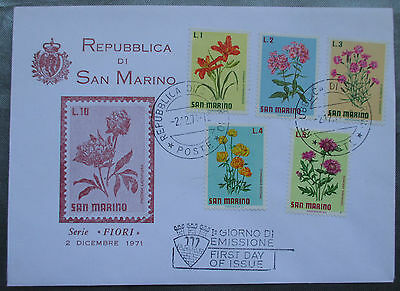 San Marino FDC - 1971 Fauna Fiori First Day Cover  - flowers