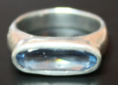 Sterling Silver Clear Blue Stone Ring 4.1g