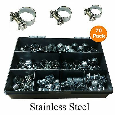 70 x Assorted Mini Hose Clamps Stainless Steel Clips Air Fuel Coolant & Breather
