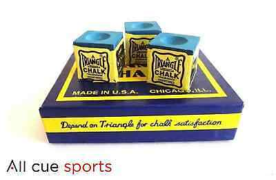 12 Pieces of Blue Triangle Snooker and Pool Chalk - Boxed
