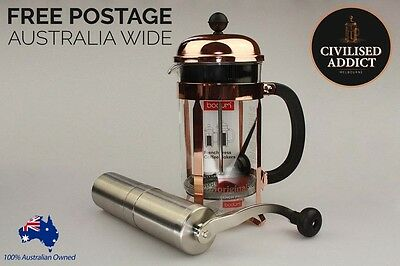 Bodum Chambord 8 cup French Press (Copper) with Porlex Tall Coffee Grinder