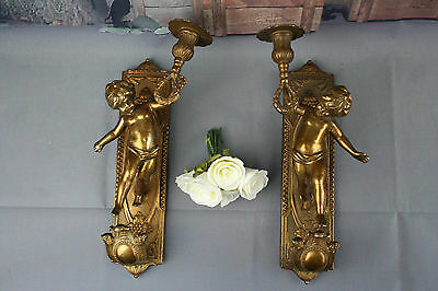 Pair Antique French Neo Classical  bronze Wall Sconces with Cherubs  angels