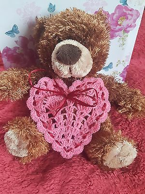 Hand crochet Pink Heart Valentines day Christmas gift decor New year love