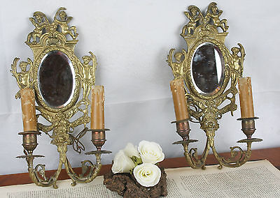 PAIR French 1900 Brass Bronze Cherubs putti angels Mirror Wall lights sconces