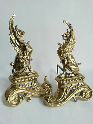 PAIR antique Brass gold gilt Griffon Chimaera dragons gothic fireplace andirons