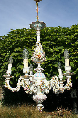 Porcelain Capodimonte marked chandelier flowers 5 arms 1970's no 1