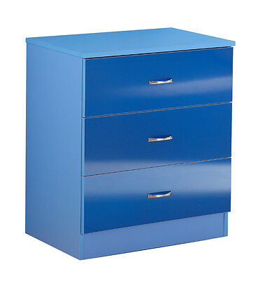 Childrens High Gloss 3 Drawer Chest, Bedroom Furniture in two tone Blue