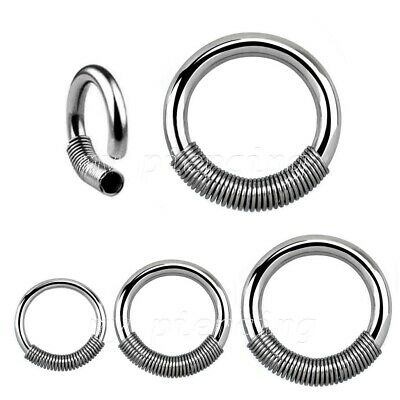2pcs. Surgical Steel Captive Ring with Wire Spring Closure Hoop Earring Septum