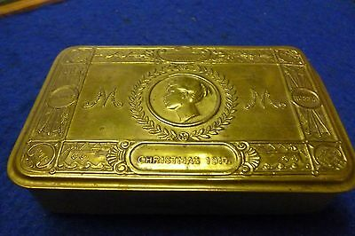 WW1 Brass Soldiers Christmas Tin 1914 Queen Mary, VGC