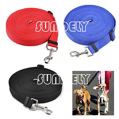 NEW! Black/Blue/Red Dog Puppy Pet Training Lead 50ft Long Line Collar Harness