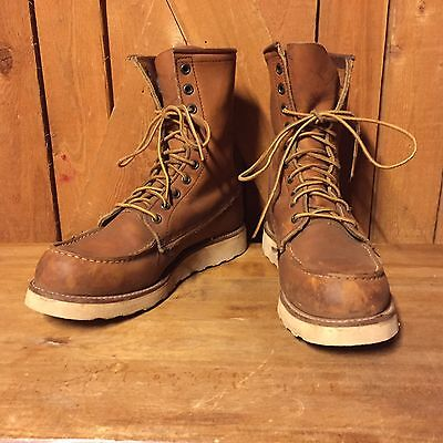 Red Wing Boots Moc Toe Crepe Sole Hunting Camping Work Hiking 7 1/2D Vintage