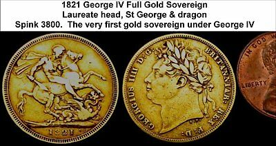 1821 George IV Full Gold Sovereign. Very nice grade, unmounted.  WAu-6059