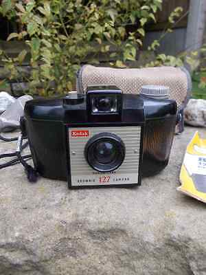 Kodak Brownie  1950's box film camera. Mint condition case and instructions