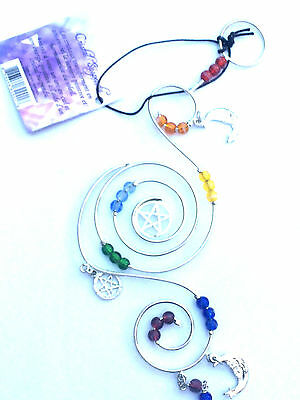 WIRE HANGING CRYSTAL CHAKRA PENTAGRAM WITH MOON-Pentacle/Pagan/Wicca/Sun Catcher
