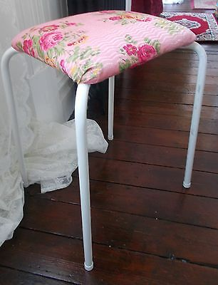 Vintage Retro Art Deco Camping Garden Pink Rose Floral Fabric Stool Chair White