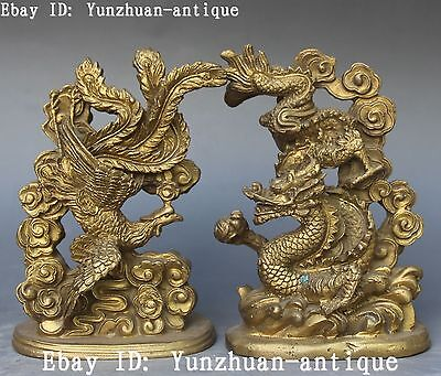 Chinese Bronze FengShui Auspicious Dragon Loong Dragons Phoenix Statue Pair