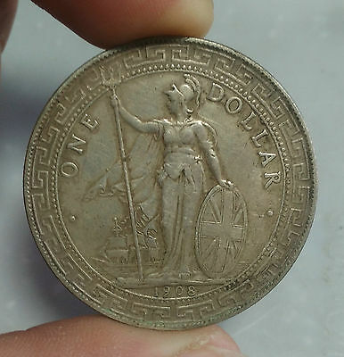 1908s Sterling Silver Britain Trade One Dollar Money Coin Antique