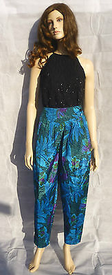 Vintage 1980s Blue Floral Print High Waisted Tapered SILK Trousers Hareem 10-12