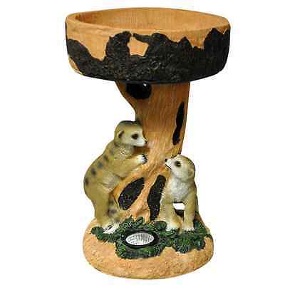 Solar Powered Meerkats with Bird Bath Garden Light bright white LED bulb