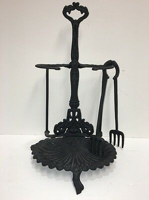 Antique Ornate Cast Iron Footed Fireplace Tool Set SHELL DESIGN / B