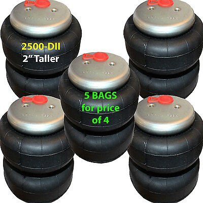 "set of 5 air bag 2"" TALLER 2500 D-II  3/8"" Fittings ride springs bags"
