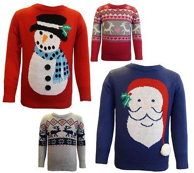 Boys and girls childrens, kids Christmas Xmas Jumpers knitted - Age 2-11yrs