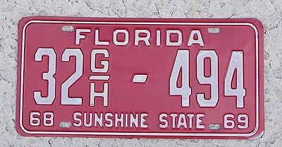 1968 1969 Florida License Plate 1968-69 sunshine state truck tag