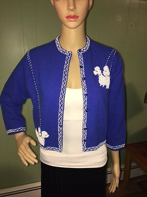 Vintage INTERCONTINENTAL FASHIONS Royal blue poodle beaded cardigan sweater S/M