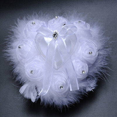Elegant Pearl Ostrich Heart Shaped Ring Pillow Cushion Gift Wedding Supplies
