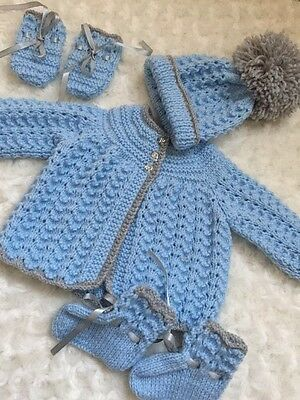 New: Sweet Knitted 4 Piece Set In Blue And Grey For A 0-3mths Baby Boy Or Reborn
