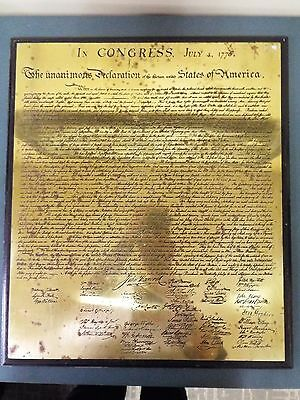 Declaration of Independence - Engraved Brass Plaque - Mounted on Wood