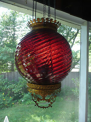 1880s VICTORIAN CRANBERRY SWIRL ART GLASS Pull Down HALL LAMP CHANDELIER