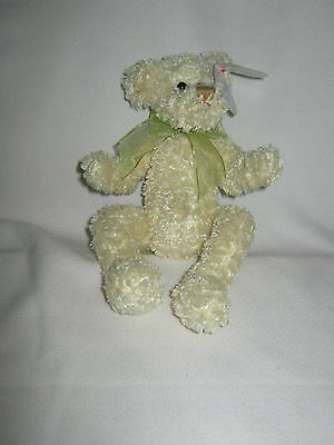 TY YELLOW CURLY FUR BEAR WITH BOW - MARIGOLD The Attic Treasures Collection Gift