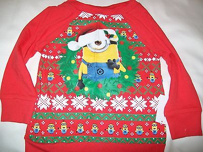 NEW NWT Toddler Girls 3t Minions Long Sleeved Christmas Holiday Shirt