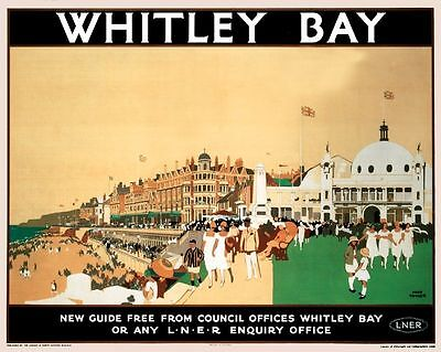 Whitley Bay Spanish City Rail transport reproduction advert Poster 50x70cm NEW