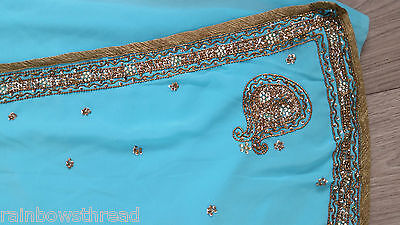 Blue antique gold embrioder Saree sari suit kameez indian party wedding lengha