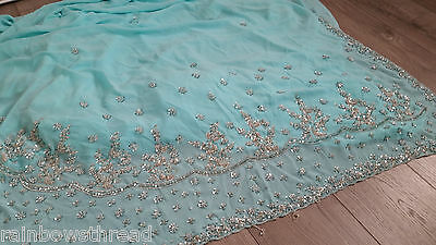 Mint antique gold embrioder Saree sari suit kameez indian party wedding lengha