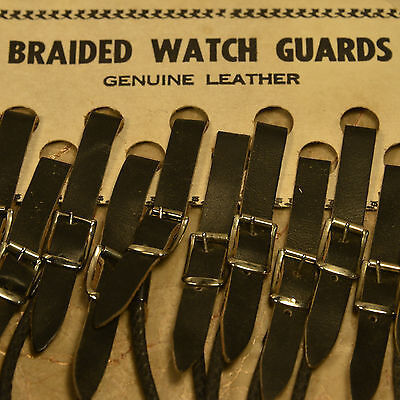 """LEATHER ROUND BRAIDED BLACK POCKET WATCH STRAP NEW / OLD  9"""" FOR BELT or LOOP"""